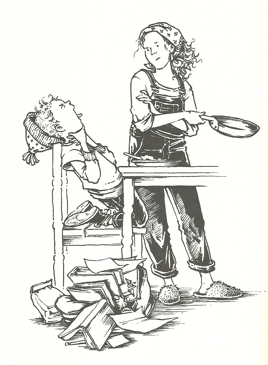 Clementine and mother line drawing